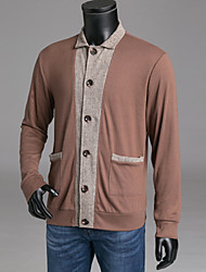 cheap -Men's Daily / Weekend Color Block Long Sleeve Slim Regular Cardigan Sweater Jumper, Stand Fall / Winter Wool Black / Wine / Light gray S / M / L