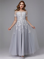 cheap -A-Line Elegant Prom Formal Evening Dress Jewel Neck Short Sleeve Floor Length Tulle with Appliques 2021