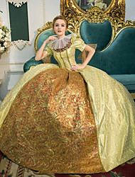 cheap -Princess Queen Elizabeth Victorian Rococo Baroque Renaissance 18th Century Square Neck Dress Outfits Party Costume Masquerade Women's Costume Golden Vintage Cosplay Party Prom 3/4 Length Sleeve Floor