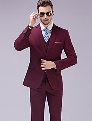 cheap -Solid Colored Tailored Fit Wool / Polyster Suit - Notch Single Breasted One-button / Suits