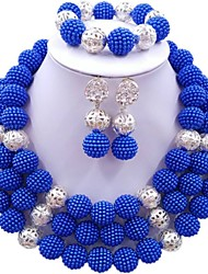 cheap -Women's Beaded Necklace Layered Ladies Fashion Earrings Jewelry Dark Blue / Red / Hot Pink For Wedding