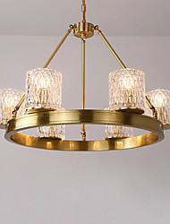 cheap -6-Light 66 cm Chandelier Metal Glass Brass Traditional / Classic 110-120V / 220-240V