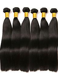 Недорогие -6 Связок Малазийские волосы Прямой Натуральные волосы 300 g Человека ткет Волосы Пучок волос One Pack Solution 8-28 дюймовый Нейтральный Естественный цвет Ткет человеческих волос