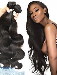 Недорогие -4 Связки Бразильские волосы Естественные кудри Натуральные волосы Необработанные натуральные волосы 200 g Головные уборы Человека ткет Волосы Уход за волосами 8-28 дюймовый Естественный цвет / 8A