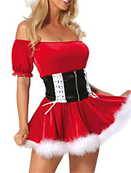 cheap -Uniforms Costume Christmas Dress Santa Clothes Adults Highschool Women's Dresses Christmas Christmas Halloween Carnival Festival / Holiday Spandex Polyester Red Women's Carnival Costumes Solid