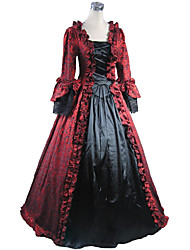 cheap -Rococo Victorian 18th Century Dress Party Costume Masquerade Women's Lace Cotton Costume Vintage Cosplay Long Sleeve Long Length Ball Gown / Floral
