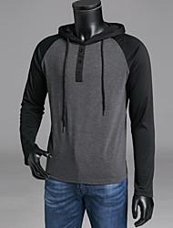 abordables -Tee-shirt Homme, Bloc de Couleur Capuche Gris Foncé / Manches Longues