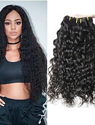 cheap -3 Bundles Water Wave Human Hair Unprocessed Human Hair Natural Color Hair Weaves / Hair Bulk Hair Care Extension 8-28 inch Natural Color Human Hair Weaves Cosplay Best Quality Hot Sale Human Hair