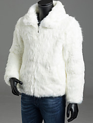 cheap -Men's Daily Fall / Winter Regular Fur Coat, Solid Colored Shirt Collar Long Sleeve Faux Fur / Fox Fur White / Black