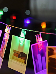 cheap -4M 40 pcs LED Photo String Lights 40 Photo Clips Battery Powered or USB Interface Fairy Twinkle LightsHanging Photos Cards and Artwork Warm White DC5V