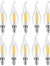 abordables -YWXLIGHT® 10pcs 4 W Ampoules Bougies LED Ampoules à Filament LED 300-400 lm E14 C35 4 Perles LED COB Intensité Réglable Blanc Chaud Blanc 220-240 V
