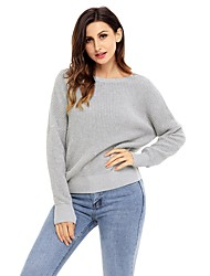 cheap -Women's Daily Street chic Solid Colored Long Sleeve Loose Regular Pullover, Crew Neck Fall / Winter Cotton Camel / Gray / Khaki M / L / XL / High Waist
