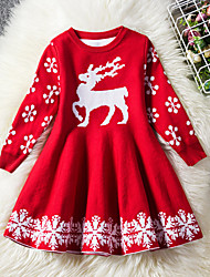 cheap -Kids Toddler Girls' Vintage Active Party Holiday Solid Colored Christmas Long Sleeve Knee-length Dress Blue