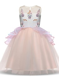 cheap -Princess Unicorn Vintage Flapper Dress Dress Party Costume Girls' Costume Purple / Blue / Pink Vintage Cosplay Sleeveless