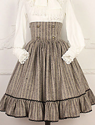 cheap -Artistic / Retro Sweet Lolita Winter Skirt Girls' Female Japanese Cosplay Costumes Gray / Coffee Dot Vintage Long Length