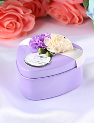 cheap -Heart Shape Metal Favor Holder with Satin Bow Gift Boxes - 12pcs