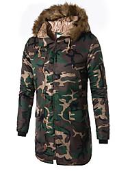 abordables -Homme Quotidien / Fin de semaine Militaire camouflage Longue Rembourré, Coton / Polyester Manches Longues Hiver Capuche Vert Véronèse / Bleu XXXL / 4XL / XXXXXL