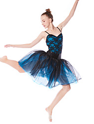 cheap -Ballet Dresses Women's Performance Elastic / Lace / Tulle Lace / Pleats / Split Joint Sleeveless High Hair Jewelry / Dress