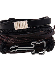 cheap -Men's Leather Bracelet Braided Music Guitar Vintage European Fashion Leather Bracelet Jewelry Brown For Daily