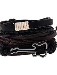 Недорогие -Муж. Кожаные браслеты Плетение Музыка Гитара Винтаж европейский Мода Кожа Браслет Ювелирные изделия Коричневый Назначение Повседневные