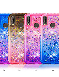cheap -Case For Huawei Huawei P20 lite / Huawei P smart Rhinestone / Flowing Liquid Back Cover Color Gradient Soft TPU