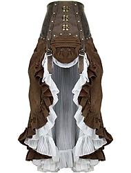 cheap -Steampunk Petticoat Hoop Skirt Women's Sequins Rivet Chiffon Cotton Costume Coffee Vintage Cosplay