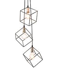 Недорогие -3-х головная черная металлическая клетка лофт мини-подвесные светильники современная гостиная столовая прихожая светильник