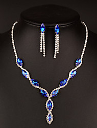 cheap -Women's Red Cubic Zirconia Drop Earrings Choker Necklace Bridal Jewelry Sets Vintage Style Drop Classic Vintage Elegant Imitation Diamond Austria Crystal Earrings Jewelry Blue For Wedding Party