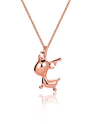 cheap -Women's Charm Necklace Sculpture Elk Ladies Fashion Cute Alloy Silver Rose Gold 48 cm Necklace Jewelry 1pc For Christmas Festival