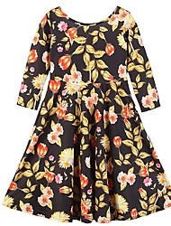 cheap -Kids Toddler Girls' Active Sweet Party Daily Plants Floral Print Long Sleeve Knee-length Dress Black / Cotton
