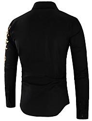 Недорогие -Муж. Животное Этно Тонкие Рубашка Уличный стиль Повседневные Белый / Черный / Красный / Темно синий / Длинный рукав