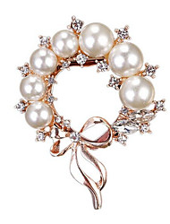 cheap -Women's Brooches Classic Bowknot Ladies Stylish Classic Imitation Pearl Rhinestone Brooch Jewelry Gold For Daily