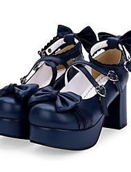 cheap -Women's Lolita Shoes Sweet Lolita Princess Lolita Chunky Heel Shoes Solid Colored 8 cm Black White Red PU Leather / Polyurethane Leather Halloween Costumes