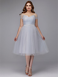 cheap -A-Line Elegant Cocktail Party Prom Dress Off Shoulder Short Sleeve Tea Length Tulle with Sash / Ribbon Criss Cross 2020