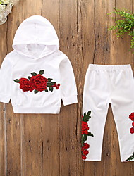 cheap -Kids Toddler Girls' Active Basic Daily Holiday Floral Embroidered Long Sleeve Regular Cotton Clothing Set White