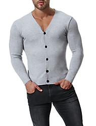 cheap -Men's Daily Solid Colored Long Sleeve Regular Cardigan Sweater Jumper Black / Wine / Light gray M / L / XL