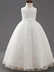 cheap -Princess Long Length Wedding / First Communion Flower Girl Dresses - Lace / Tulle Sleeveless Jewel Neck with Embroidery