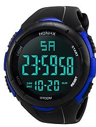 cheap -Men's Sport Watch Digital Watch Japanese Digital Silicone Black 30 m Water Resistant / Waterproof Alarm Calendar / date / day Digital Fashion - Black Black / Blue / Chronograph / Stopwatch