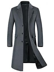 Недорогие -Муж. Повседневные Классический Длинная Пальто, Однотонный Рубашечный воротник Длинный рукав Полиэстер Черный / Серый