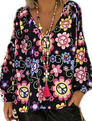 cheap -Women's Daily Basic Plus Size Shirt - Floral V Neck White / Spring / Fall