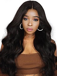 cheap -Remy Human Hair Full Lace Lace Front Wig Asymmetrical Wendy style Brazilian Hair Body Wave Black Wig 130% 150% 180% Density with Baby Hair Women Easy dressing Sexy Lady Natural Women's Very Long