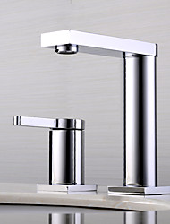 cheap -Bathroom Sink Faucet - Widespread / New Design Chrome Deck Mounted Single Handle Two HolesBath Taps