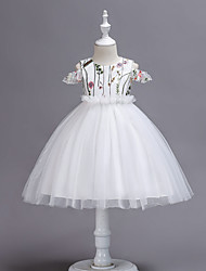 cheap -Princess Tea Length Wedding / Party / Pageant Flower Girl Dresses - Tulle Short Sleeve / Sleeveless Jewel Neck with Petal / Appliques