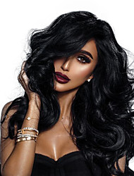 cheap -Remy Human Hair 360 Frontal Wig Deep Parting Kardashian style Brazilian Hair Wavy Natural Wig 150% 180% Density with Baby Hair Best Quality Hot Sale Thick Women's Long Human Hair Lace Wig WoWEbony