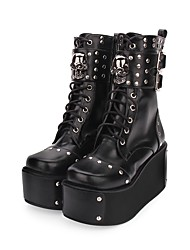 cheap -Women's Lolita Shoes Punk Wedge Heel Shoes Solid Colored 8 cm Black PU Leather / Polyurethane Leather Halloween Costumes