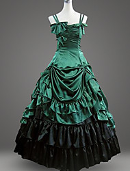 cheap -Classic Lolita Rococo Baroque Dress Masquerade Party Prom Women's Cotton Japanese Cosplay Costumes Plus Size Green / Black Ball Gown Floor Length