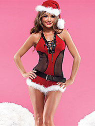 cheap -Uniforms Costume Christmas Dress Santa Clothes Adults Highschool Women's Sexy Christmas Christmas Halloween Carnival Festival / Holiday Spandex Polyester Red Carnival Costumes Patchwork Sexy Lady