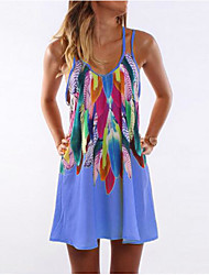 cheap -Women's Mini Yellow Red Dress Summer Holiday Shift Strap Print S M