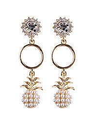 cheap -Women's AAA Cubic Zirconia Drop Earrings Classic Long Pineapple Ladies Trendy Sweet Fashion Imitation Pearl Rhinestone Earrings Jewelry Gold / Silver For Going out Work 1 Pair