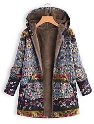 cheap -Women's Floral Print Print Vintage Fall & Winter Coat Long Daily Long Sleeve Wool Blend Coat Tops Blue